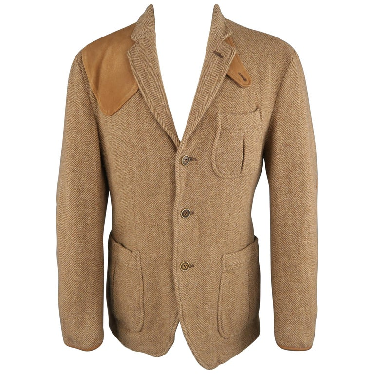 28737ab3 RALPH LAUREN 38 Tan Herringbone Tweed Wool Suede Elbow Pad Jacket