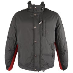 RALPH LAUREN 42 Black & Red Nylon& Leather Down Puffer Jacket