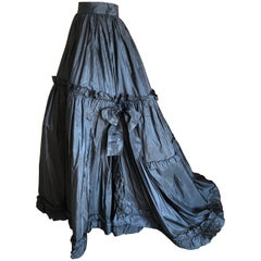 Yves Saint Laurent Rive Guache 1982 Dramatic Black Taffeta Ball Skirt with Train
