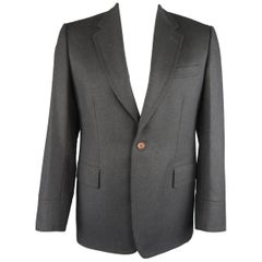 Men's PAUL SMITH 42 Long Charcoal Gray Wool SIngle Button Notch Lapel Sport Coat