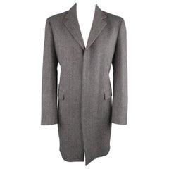 Men's ELIE TAHARI L Grey Herringbone Wool / Cashmere Notch Lapel Over Coat
