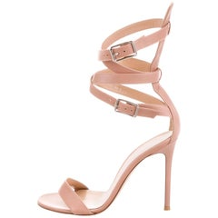 GIANVITO ROSSI NEW Nude Blush Leather Gladiator Strappy Sandals Heels in Box