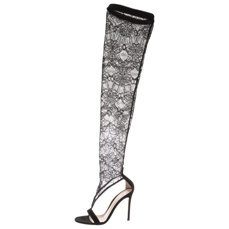 41496a877bc4 Gianvito Rossi NEW Black Lace Suede Evening Thigh High Sandals Heels in Box  For Sale