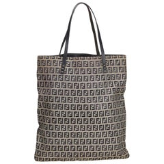 Fendi Gray x Black Zucchino Canvas Tote Bag