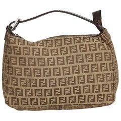 Fendi Brown x Beige Zucchino Canvas Handbag