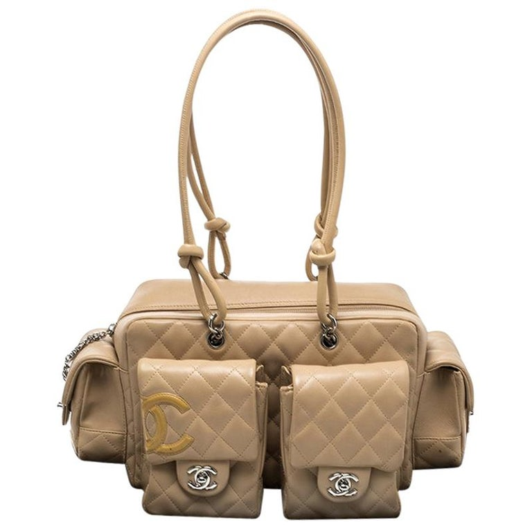 079ef23e7654 Chanel Beige Quilted Leather Ligne Cambon Reporter Bag at 1stdibs