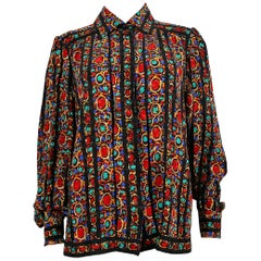 Yves Saint Laurent YSL Vintage Jewel Print Blouse