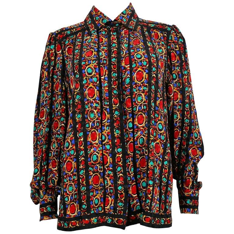 Yves Saint Laurent YSL Vintage Jewel Print Blouse For Sale