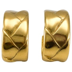 1980's Yves Saint Laurent Gold-Plated Quilted Hoop Earrings