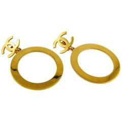 Chanel Vintage Massive Gold Toned Iconic Hoop Dangling Earrings