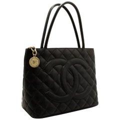 CHANEL Caviar Silver Medallion Shoulder Bag Leather Black Tote