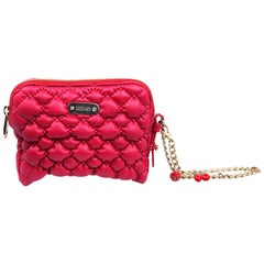 Red Valentino Quilted leather pouch with metal curb chain loop and charms
