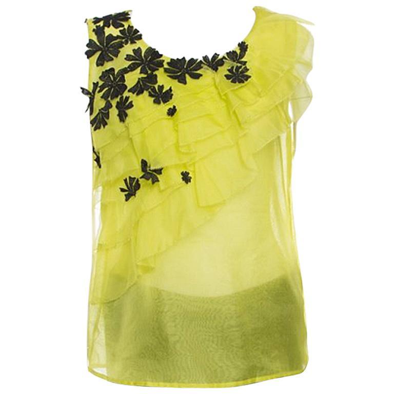 fb50cb18dde71 Oscar de la Renta Chartreuse Ruffled Floral Applique Detail Silk Organza  Top M For Sale