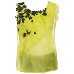 Oscar de la Renta Chartreuse Ruffled Floral Applique Detail Silk Organza Top M