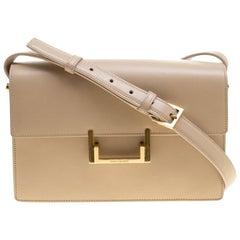 Saint Laurent Beige Leather Medium Lulu Shoulder Bag