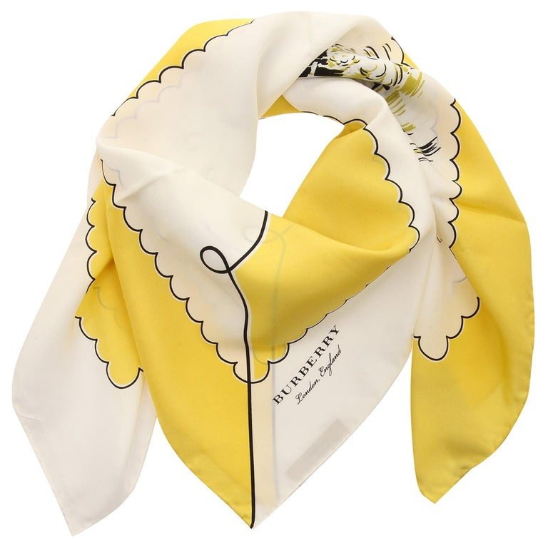 Burberry Women Square Scarf bright yellow LONDON LANDSCAPE SILK SQUARE 40654341 For Sale