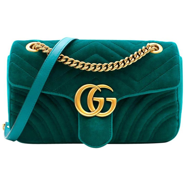 264c58e57315 Gucci Small Turquoise GG Marmont Velvet Bag at 1stdibs