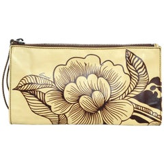 Gucci Tan/Brown Floral Leather Wristlet Bag w/ Dust Bag