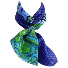 Hermès Silk Scarf Maxi Twilly Cut Astrologie Pois (Dies et Hore) Blue Green Box