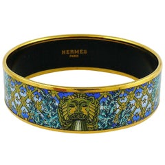 Hermes Vintage Lion Head Fountain Printed Enamel Bangle Bracelet PM (65)