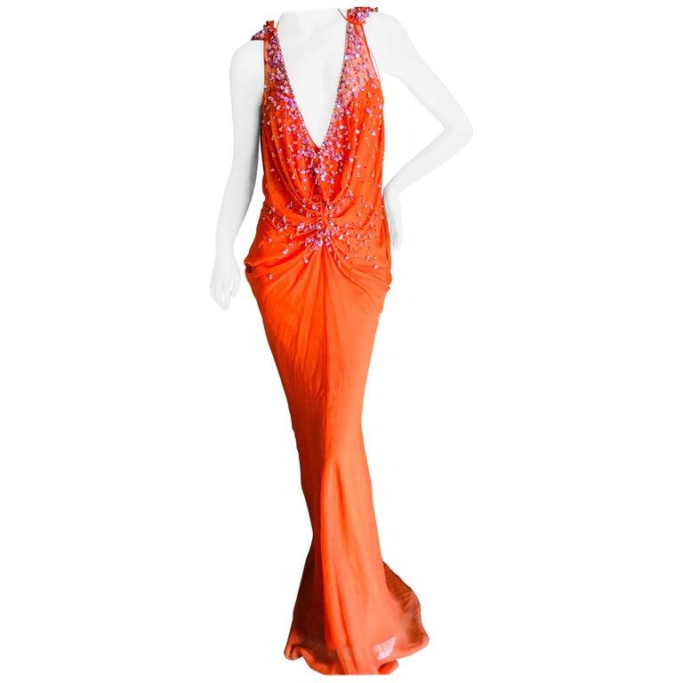 Christian Dior by John Galliano Low Cut Embellished Orange Silk Evening Dress For Sale