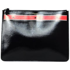 Givenchy Unisex Black Patent Leather Stars And Stripes Pouch Clutch Bag