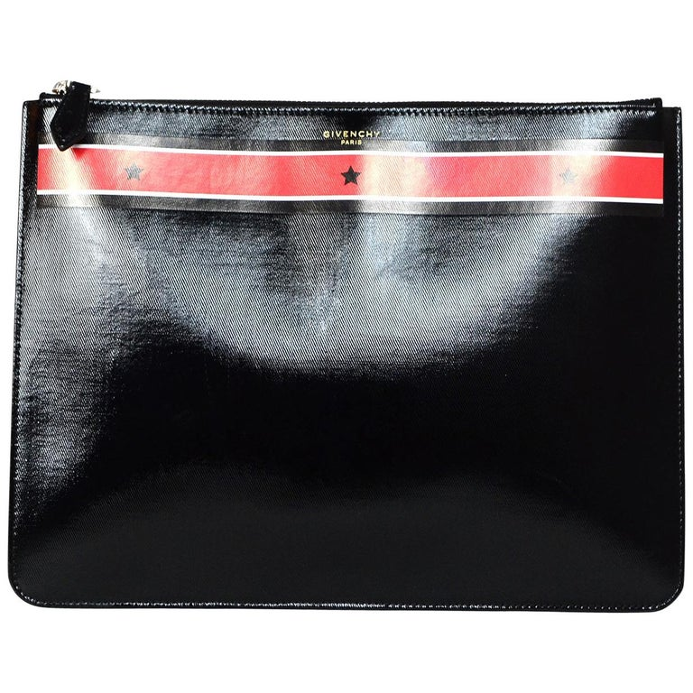 Givenchy Unisex Black Patent Leather Stars And Stripes Pouch Clutch Bag For Sale