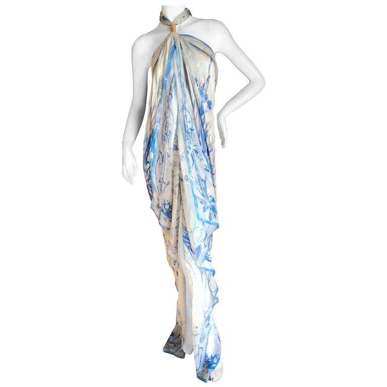Emilio Pucci Colorful Silk Pattern Halter Maxi Dress Beach Cover Up NWT