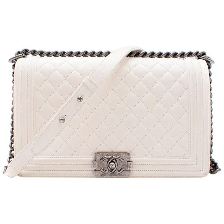 93fed4371813 Chanel Large Off White Boy Bag For Sale at 1stdibs