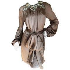 Azzaro Brown Silk Sash Tied Cocktail Dress with Gobsmacking Crystal Collar