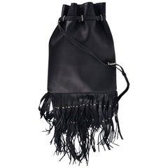 Roberto Cavalli Women's Black Grained Leather Bottom Fringe Backpack