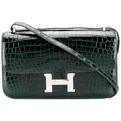 Hermès Vert Fonce Crocodile Constance Elan 25cm Bag