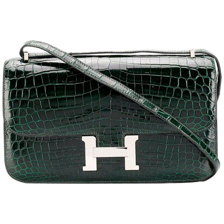 Hermès Vert Fonce Crocodile Constance Elan 25cm Bag For Sale
