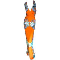 Roberto Cavalli Low Cut Sleeveless Tropical Pattern Maxi Dress
