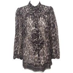 Dolce & Gabbana Black & White Floral Print Long Sleeve Silk Blouse W/ Sash