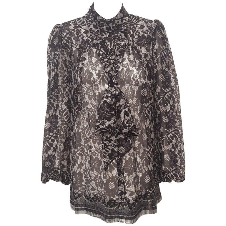 9c818245ecb1 HomeFashionClothingBlouses. Dolce & Gabbana Black & White Floral Print Long  Sleeve Silk Blouse W/ Sash For