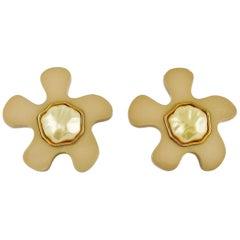 Chanel Vintage Massive Nude Flower Pearl Resin Pop Earrings
