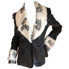 John Galliano Black Vintage Jacket w Lace Trim Mongolian Lamb Fur Collar & Cuffs