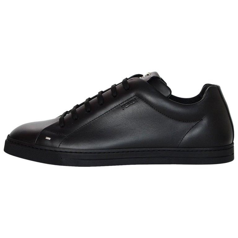 9c35247f6ead Fendi 2018 Men s NEW Black Leather Bag Bugs Sneakers Sz 8 w  Box   Shopping