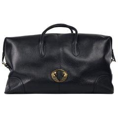 Roberto Cavalli Mens Black Leather Winged Horse Gold Emblem Travel Bag