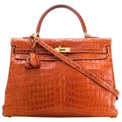 Hermès Miel Crocodile 35cm Kelly Bag