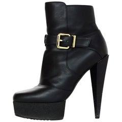 Fendi Black Leather Platform Booties w/ Side Buckle Sz 36