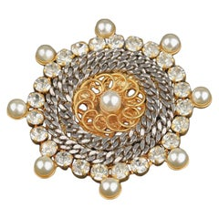De Liguoro Vintage Haute Couture Gold and Silver Metal Brooch Pin