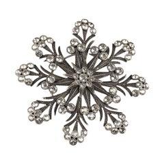 De Liguoro Haute Couture Crystals Snowflake Brooch Pin