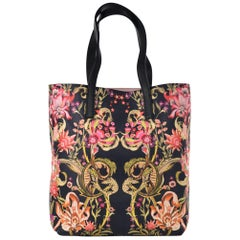 Roberto Cavalli Women's Black Leather Pink Floral Print Shopping Bag