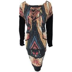Kron By KronKron Silk Multi with Black Velvet Long Sleeve Dress Brand New