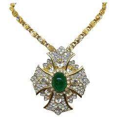 Circa 1970s K.J.L. Maltese Cross Pendant Necklace