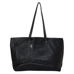 Fendi Black Pebbled Leather Selleria Tote Bag w/ Contrast Stitching