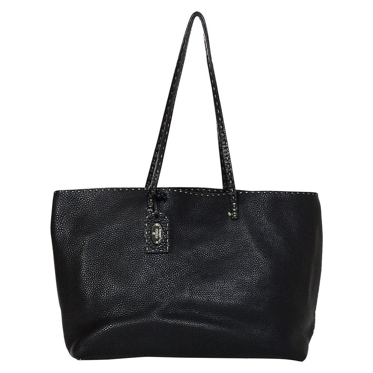 Fendi Black Pebbled Leather Eria Tote Bag W Contrast Sching For
