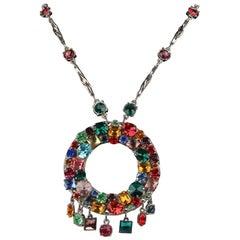 De Liguoro Haute Couture Multicolor Crystals Necklace